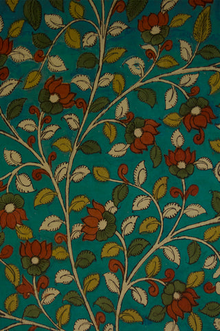 Greenish Blue with Lotus Floral Painted Kalamkari Cotton Fabric