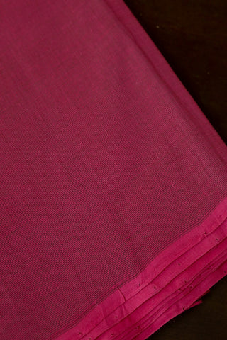 Pink with Green Pin Stripes Handwoven Mangalagiri Cotton Fabric-1.3m