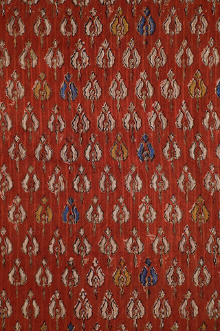 Rust Red with Gold Print Block Printed Cotton Fabric