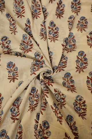 Maroon and Indigo Flower Ajrak mul Cotton Fabric