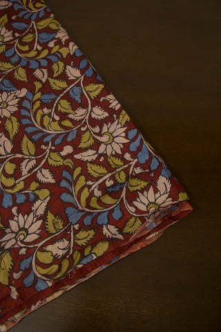 Red Floral Hand Painted Kalamkari Chennuri Silk Fabric