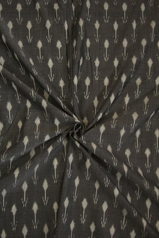 Arrow in Cement Grey Mercerized Ikat Cotton Fabric