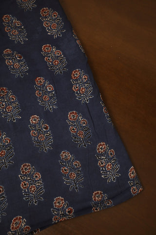 Indigo with Maroon Flower Ajrak mul Cotton Fabric