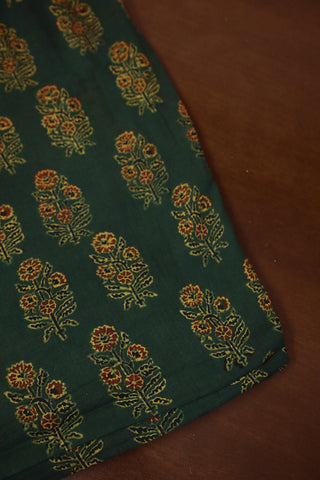 Moss Green with Maroon Ajrak mul Cotton Fabric
