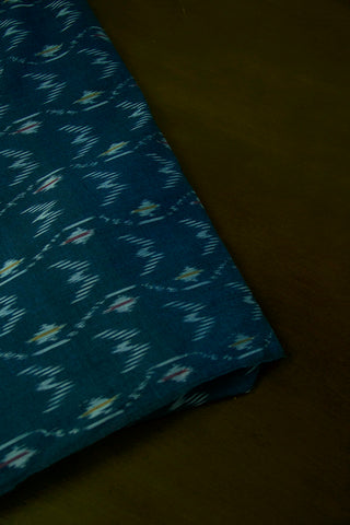 Greyish Blue Waves Ikat Mercerized Cotton Fabric