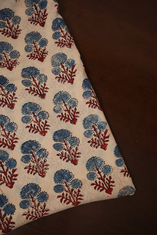 Beige with Indigo Flowers Ajrak mul Cotton Fabric