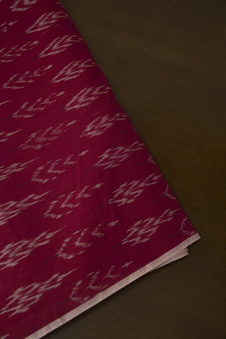 Pink Leaves Ikat Mercerized Cotton Fabric - 0.5m