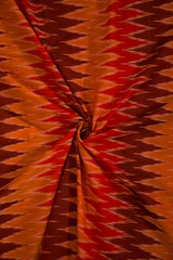 Fenugreek with Maroon and Brown Zig Zag Ikat Mercerized Cotton Fabric