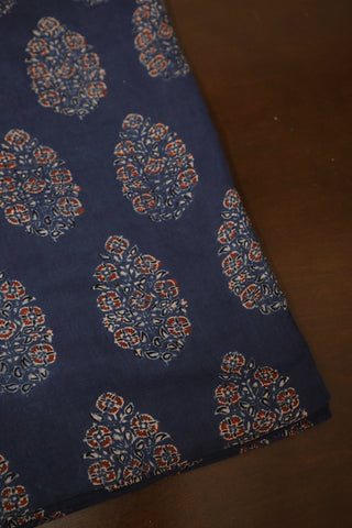 Intricate Indigo Ajrak mul Cotton Fabric