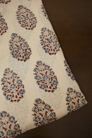 Gentle Cream with Maroon Ajrak mul Cotton Fabric