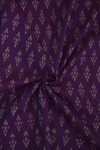 Purple with Off White Diamond Shape Ikat Cotton Fabric