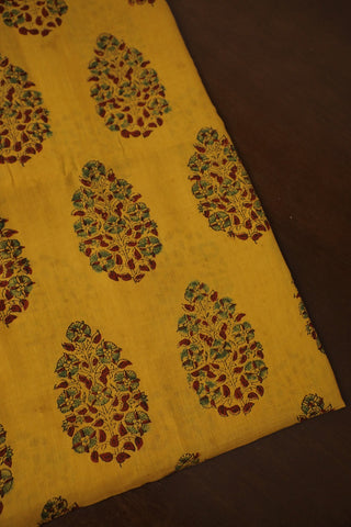 Yellow and Green Ajrak mul Cotton Fabric