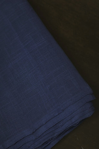 Blue Handwoven Slub Cotton Fabric-0.8m