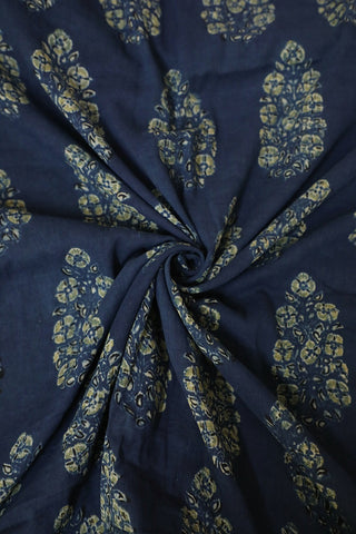 Subdued Indigo with Big Floral Ajrak mul Cotton Fabric