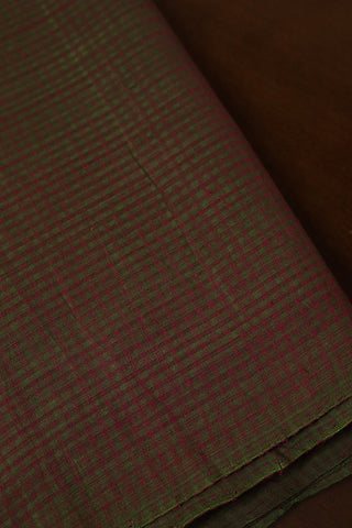 Double shade Green Boddu Checks Handwoven Cotton Fabric