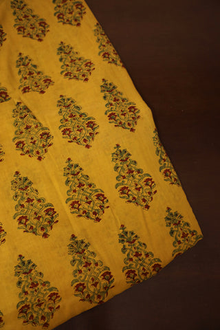 Yellow with Green Ajrak mul Cotton Fabric