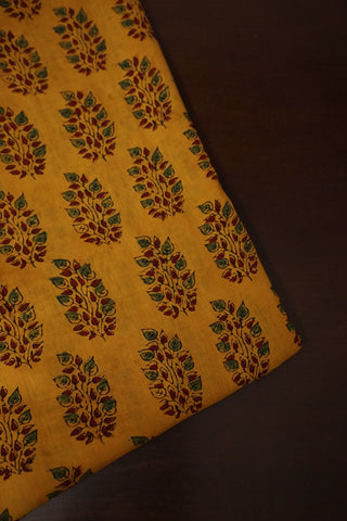 Yellow with Maroon Leaf Ajrak mul Cotton Fabric