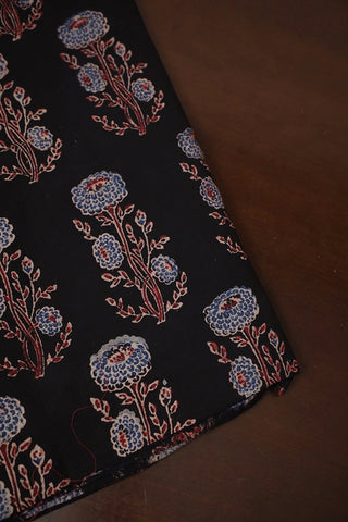 Black with Blue Floral Ajrak Cotton Fabric