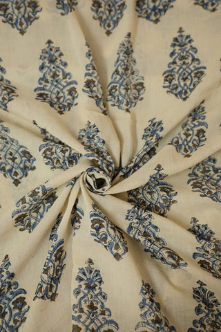 Intricate Cream Ajrak mul Cotton Fabric