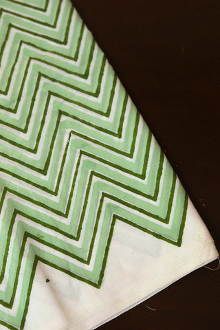 Shades of Green Zig Zag Sanganeri Cotton Fabric