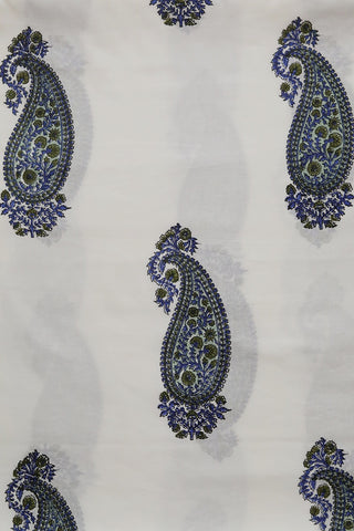 White with Blue Big Paisley Sanganeri Cotton Fabric- 1.8m