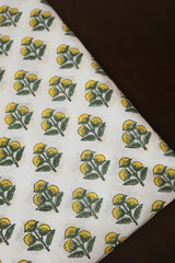 Yellow with Green Sanganeri Cotton Fabric