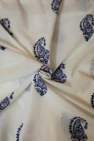 White with Blue Paisley Sanganeri Cotton Fabric