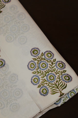 Circle Trees - Block Printed Sanganeri Cotton Fabric
