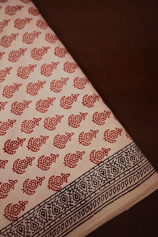 Maroon in Light Beige Bagh Print Cotton Fabric-0.7 m