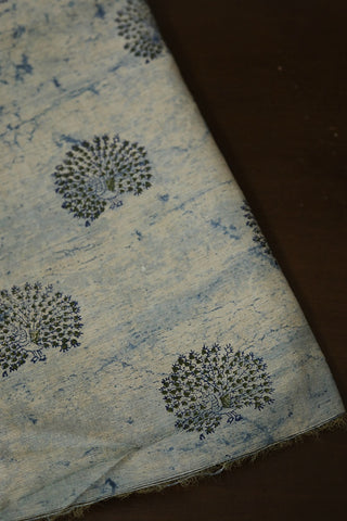 Peacock Block Printed Rayon Fabric-0.5 m