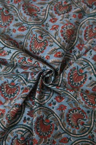 Light Blue with Peach Sanganeri Cotton Fabric-0.5 m
