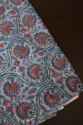 Light Blue with Peach Sanganeri Cotton Fabric