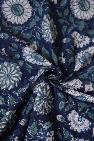 Floral Blue Sanganeri Cotton Fabric-1.4 m