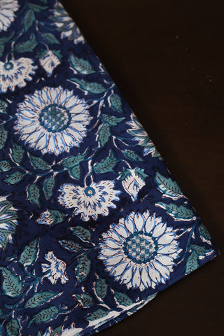 Blue with White Floral Sanganeri Cotton Fabric