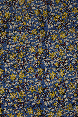 Blue with Yellow Block Printed Sanganeri Cotton Fabric