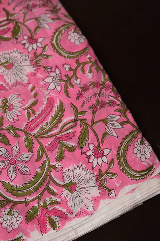 Pink Floral Sanganeri Cotton Fabric