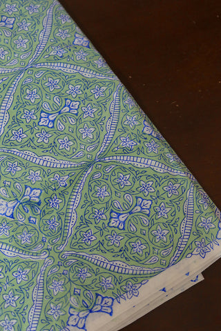 Light Green with Blue Sanganeri Cotton Fabric