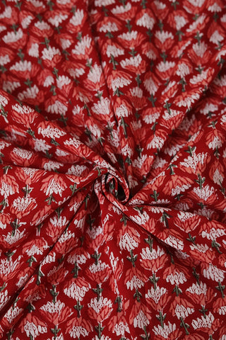 Dark Red with Florals Sanganeri Cotton Fabric-0.5 m