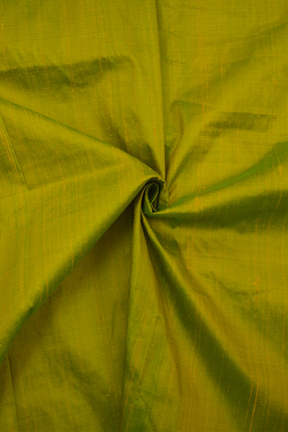Double Shaded Yellowish Green Plain Raw Silk Fabric - 1m