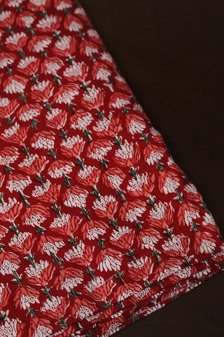 Red with peach Floral Sanganeri Cotton Fabric