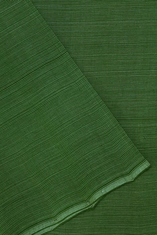 Green with White Pin Stripes Handwoven Mangalagiri Cotton Fabric