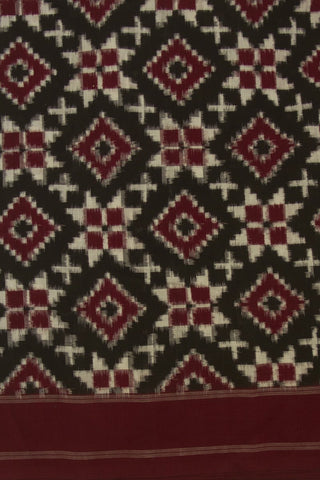 Black with Maroon Telia Rumal Ikat Cotton Fabric
