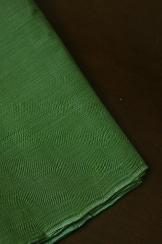 Green with White Pin Stripes Handwoven Mangalagiri Cotton Fabric-2.1 m