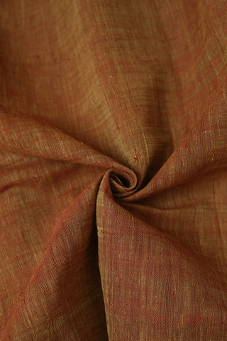Double Shade rust red Textured Handspun Handwoven Cotton Fabric-1 m