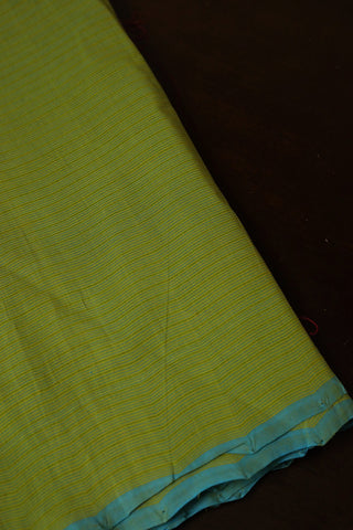 Light Green with Blue Pin Stripes Handwoven Cotton Fabric