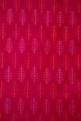 Dark Pink with Leaves Ikat Raw Silk Fabric