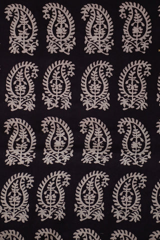 Off White Paisley in Black with red border Bagh Print Cotton Fabric-1.9 m