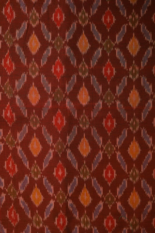 Maroon with Blue Checks Ikat Silk Cotton Fabric-1.9 m