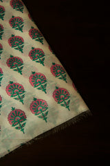 White with Pink Flower Sanganeri Chanderi Fabric -1m
