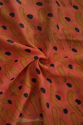 Peach with Yellow Leaves Chanderi Silk Cotton Fabric